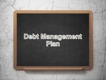 Έννοια χρηματοδότησης: Σχέδιο διαχείρισης χρέους στο υπόβαθρο πινάκων κιμωλίας Στοκ φωτογραφία με δικαίωμα ελεύθερης χρήσης