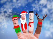 Έννοια Χριστουγέννων - χρωματισμένο δάχτυλο Στοκ Εικόνες