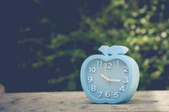 Έννοια χρονικής διαχείρισης: Μπλε ξυπνητήρι στο τσιμεντένιο πάτωμα με το πράσινο υπόβαθρο φύλλων Στοκ Φωτογραφίες