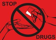 Έννοια χωρίς φάρμακα Μειωθείτε η ρωγμή Το χέρι δίνει τα φάρμακα ελεύθερη απεικόνιση δικαιώματος