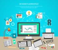 Έννοια χώρου εργασίας σχεδιαστών Στοκ Εικόνα