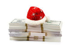 Έννοια δώρων Χριστουγέννων με τα χρήματα που απομονώνεται στο λευκό Στοκ Εικόνες