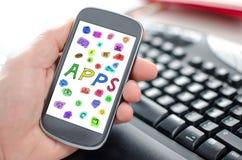 Έννοια Apps σε ένα smartphone Στοκ εικόνες με δικαίωμα ελεύθερης χρήσης