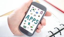 Έννοια Apps σε ένα smartphone Στοκ φωτογραφία με δικαίωμα ελεύθερης χρήσης
