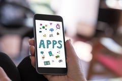 Έννοια Apps σε ένα smartphone Στοκ Φωτογραφίες