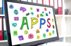 Έννοια Apps σε μια οθόνη υπολογιστή Στοκ Εικόνα