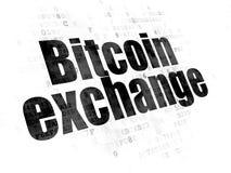 Έννοια Blockchain: Ανταλλαγή Bitcoin στο ψηφιακό υπόβαθρο στοκ φωτογραφίες