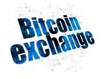 Έννοια Blockchain: Ανταλλαγή Bitcoin στο ψηφιακό υπόβαθρο στοκ εικόνα