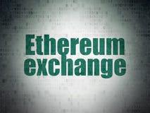 Έννοια Blockchain: Ανταλλαγή Ethereum στο υπόβαθρο εγγράφου ψηφιακών στοιχείων στοκ φωτογραφίες
