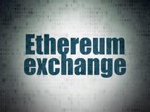 Έννοια Blockchain: Ανταλλαγή Ethereum στο υπόβαθρο εγγράφου ψηφιακών στοιχείων διανυσματική απεικόνιση