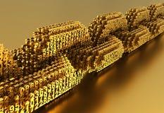 Έννοια Blockchain Χρυσή ψηφιακή αλυσίδα των διασυνδεμένων τρισδιάστατων αριθμών διανυσματική απεικόνιση