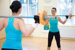 Έννοια Bodybuilding - πίσω άποψη της άσκησης γυναικών με το βάρβο Στοκ Εικόνες