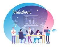 Έννοια 'brainstorming' Άνθρωποι που συναντιούνται στο εργαστήριο Επιχειρησιακή επιτυχία, ομάδα που σκέφτονται στο ξεκίνημα και δι διανυσματική απεικόνιση