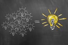 Έννοια 'brainstorming' με τη λάμπα φωτός στον πίνακα κιμωλίας ή blackboar στοκ εικόνα