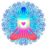 Έννοια Chakra καρδιών Εσωτερικές αγάπη, φως και ειρήνη Σκιαγραφία μέσα ελεύθερη απεικόνιση δικαιώματος