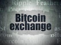 Έννοια Cryptocurrency: Ανταλλαγή Bitcoin στο υπόβαθρο εγγράφου ψηφιακών στοιχείων στοκ φωτογραφίες