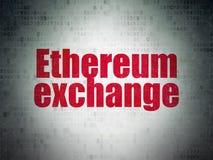 Έννοια Cryptocurrency: Ανταλλαγή Ethereum στο υπόβαθρο εγγράφου ψηφιακών στοιχείων διανυσματική απεικόνιση