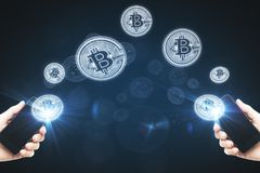 Έννοια Cryptocurrency και εμπορίου Στοκ Εικόνα