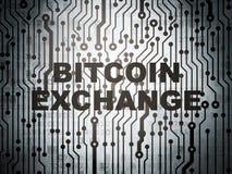 Έννοια Cryptocurrency: πίνακας κυκλωμάτων με την ανταλλαγή Bitcoin στοκ φωτογραφία