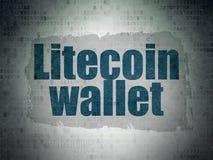 Έννοια Cryptocurrency: Πορτοφόλι Litecoin στο υπόβαθρο εγγράφου ψηφιακών στοιχείων στοκ εικόνα