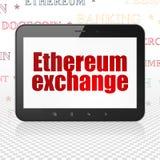 Έννοια Cryptocurrency: Υπολογιστής ταμπλετών με την ανταλλαγή Ethereum στην επίδειξη διανυσματική απεικόνιση