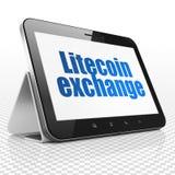 Έννοια Cryptocurrency: Υπολογιστής ταμπλετών με την ανταλλαγή Litecoin στην επίδειξη στοκ φωτογραφία με δικαίωμα ελεύθερης χρήσης