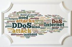 Έννοια DDOS στο λευκό ξύλινο πίνακα πλαισίων Στοκ φωτογραφίες με δικαίωμα ελεύθερης χρήσης