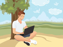 Έννοια Downshifting Επίπεδη ζωηρόχρωμη απεικόνιση σχεδίου Τρόπος ζωής αλλαγών Freelancer για να είναι ευτυχής Στοκ εικόνες με δικαίωμα ελεύθερης χρήσης