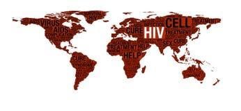 Έννοια HIV ή του AIDS στον παγκόσμιο χάρτη Στοκ Εικόνες