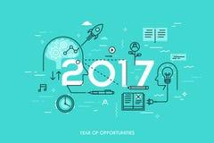 Έννοια Infographic, 2017 - έτος ευκαιριών Νέες τάσεις στην παραγωγή ιδέας, χρονική διαχείριση, ανταλλαγή εμπειρίας Στοκ φωτογραφία με δικαίωμα ελεύθερης χρήσης