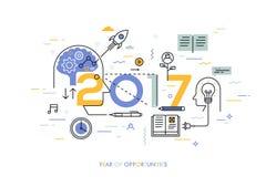Έννοια Infographic, 2017 - έτος ευκαιριών Νέες τάσεις στην παραγωγή ιδέας, χρονική διαχείριση, ανταλλαγή εμπειρίας Στοκ Εικόνες