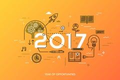 Έννοια Infographic, 2017 - έτος ευκαιριών Νέες τάσεις στην παραγωγή ιδέας, χρονική διαχείριση, ανταλλαγή εμπειρίας Στοκ εικόνες με δικαίωμα ελεύθερης χρήσης