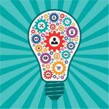 Έννοια Infographic - δημιουργικός διανυσματικός λαμπτήρας ιδέας - εικονίδια SEO με μορφή των λαμπών φωτός Στοκ Φωτογραφίες