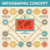 Έννοια Infographic - διανυσματικό σχέδιο με τα εικονίδια Στοκ Φωτογραφία