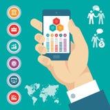 Έννοια Infographic με το κινητό τηλέφωνο διαθέσιμο & τα διανυσματικά επιχειρησιακά εικονίδια. Στοκ Εικόνες