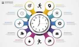 Έννοια Infographics με το ρολόι σύγχρονο πρότυπο σχεδίο&upsil διάνυσμα Στοκ Εικόνες
