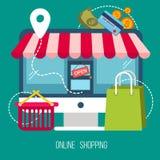 Έννοια on-line να ψωνίσει στο επίπεδο σχέδιο διανυσματική απεικόνιση