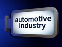 Έννοια Manufacuring: Αυτοκινητοβιομηχανία στο υπόβαθρο πινάκων διαφημίσεων διανυσματική απεικόνιση
