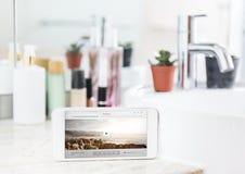 Έννοια playlist Smartphone και μουσικής Στοκ Φωτογραφία