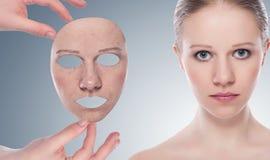 Έννοια skincare με τη μάσκα. Στοκ φωτογραφίες με δικαίωμα ελεύθερης χρήσης