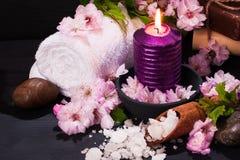 Έννοια SPA με τα λουλούδια του αμυγδάλου Στοκ εικόνες με δικαίωμα ελεύθερης χρήσης