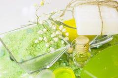 Έννοια SPA με το πράσινο άλας λουτρών Στοκ εικόνα με δικαίωμα ελεύθερης χρήσης