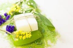 Έννοια SPA με το πράσινο άλας λουτρών Στοκ φωτογραφία με δικαίωμα ελεύθερης χρήσης