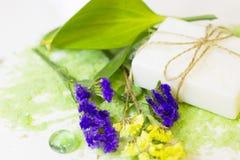 Έννοια SPA με το πράσινο άλας λουτρών Στοκ Εικόνα