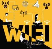 Έννοια Wifi λέξης και άνθρωποι που κάνουν τα πράγματα διανυσματική απεικόνιση