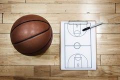 Έννοιες αθλητικής στρατηγικής σχεδίων παιχνιδιού Playbook καλαθοσφαίρισης Στοκ φωτογραφία με δικαίωμα ελεύθερης χρήσης