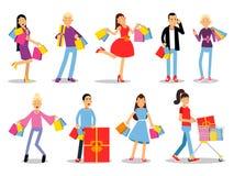 Έννοιες ανθρώπων αγορών Επίπεδο σχέδιο Συλλογή των χαμογελώντας χαρακτήρων γυναικών και ανδρών με τα πεδία δώρων, τις τσάντες εγγ Στοκ φωτογραφία με δικαίωμα ελεύθερης χρήσης