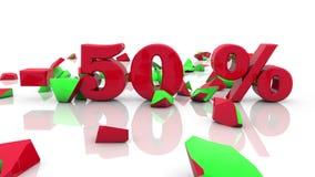 Έννοιες επιγραφής πώλησης και τοις εκατό σε ένα λευκό διανυσματική απεικόνιση