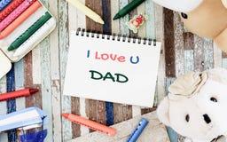 Έννοιες ευχετήριων καρτών ημέρας πατέρων με σ' αγαπώ το κείμενο μπαμπάδων και Στοκ εικόνες με δικαίωμα ελεύθερης χρήσης