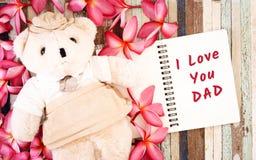 Έννοιες ευχετήριων καρτών ημέρας πατέρων με σ' αγαπώ το κείμενο μπαμπάδων και Στοκ Εικόνες